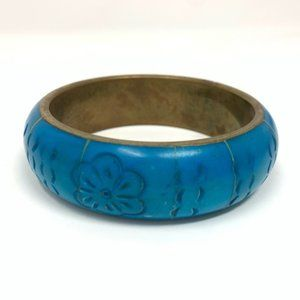 Vintage Brass Bangle Etched Turquoise Bracelet